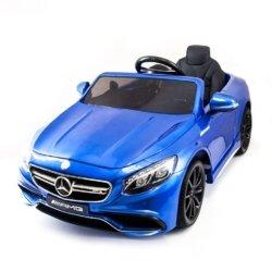 Электромобиль Mercedes-Benz S63 AMG синий (сиденье кожа, колеса резина, пульт, музыка, глянцевая покраска)